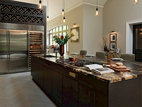 Callum Walker Interiors Classic Valencia dark kitchen island