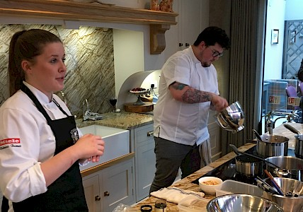 Jamie Scott preparing meal using Miele appliances